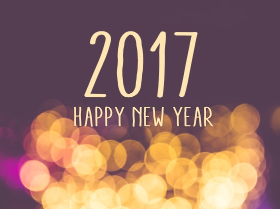 2017 happy new year on vintage blur festive bokeh light background.